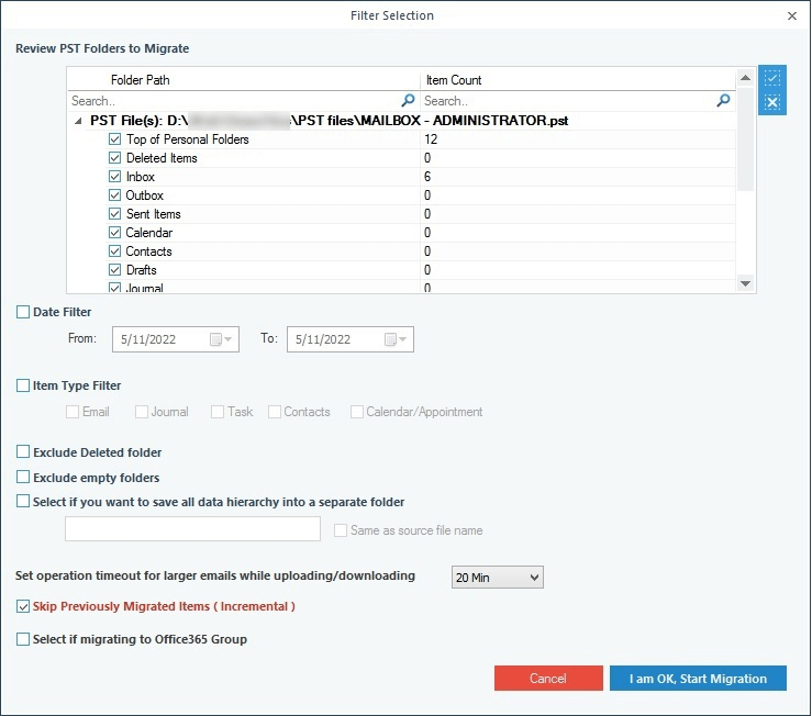 Accurate PST import to Office 365