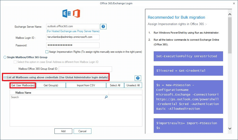 Enter the login credentials of Office 365 account