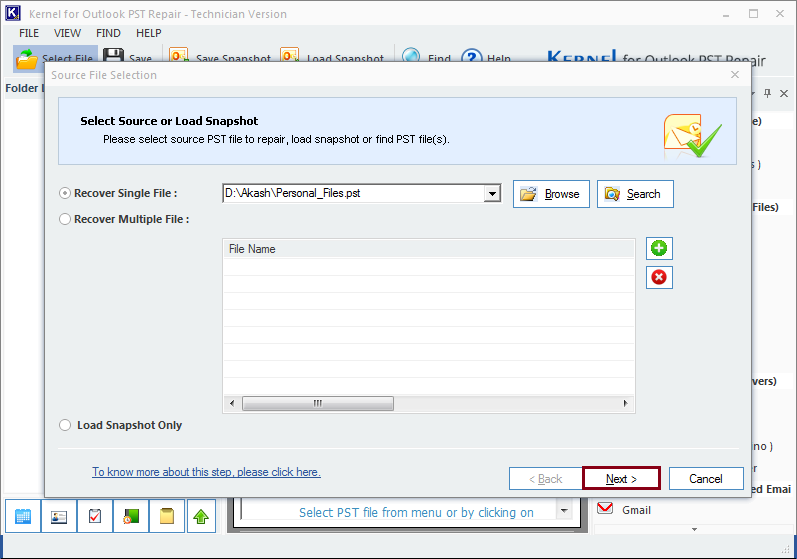 Select and add the Outlook PST file for import