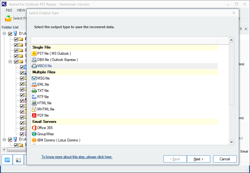 Selecting MBOX as the destination to import PST