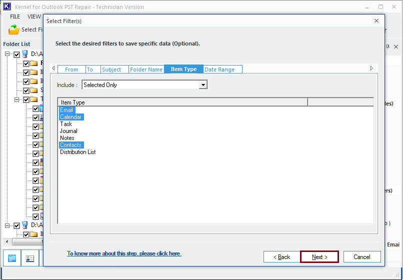 Applying filters for a customized PST to Thunderbird import