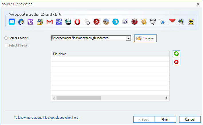 Selecting MBOX file(s) for Outlook migration