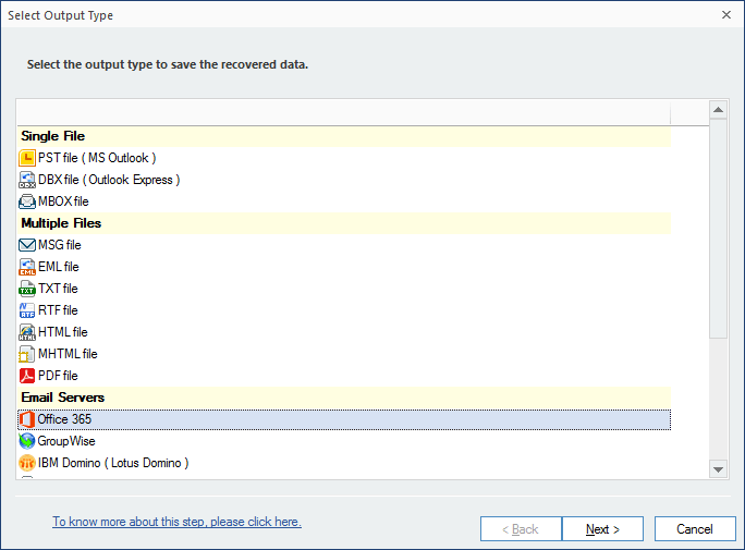 Select Office 365 option to save file
