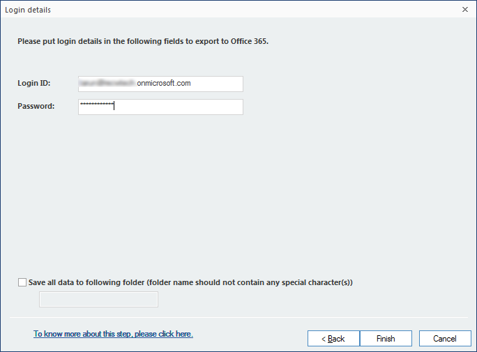 Enter Office 365 credentials to finish your migration