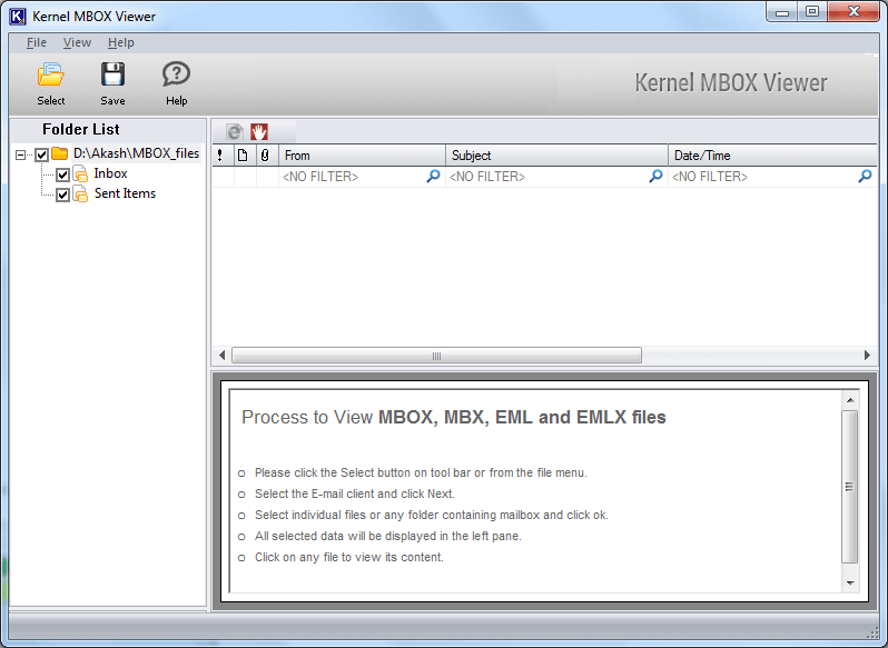 MBOX files are displayed on the left-hand side panel