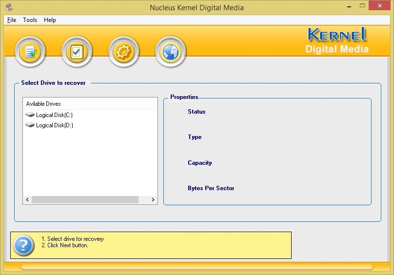 Main Screen of Kernel for Digital Media