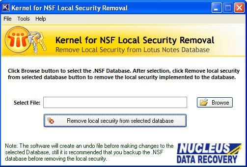 Main screen of Kernel for NSF Local Security Removal