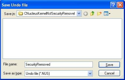 Remove local security from the selected NSF file