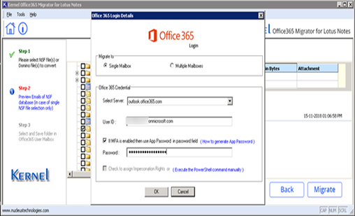 Input destination Office 365 account's credentials