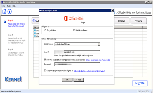 Click Migrate to add the destination Office 365 account