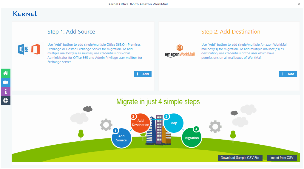 Screen of Kernel Office 365 to Amazon WorkMail