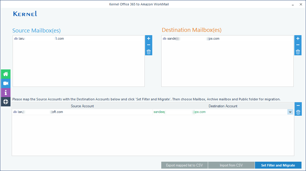 Map the single source mailbox to single destination mailbox