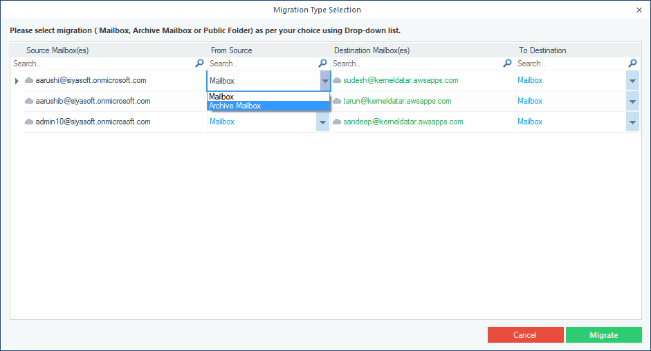 Select an option : Mailbox, Archive Mailbox, or Public Folder