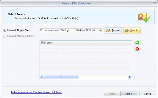Select Source OLM File