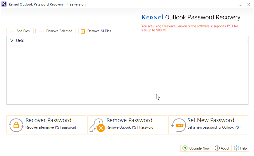 Launch kernel Outook Password Recovery Tool