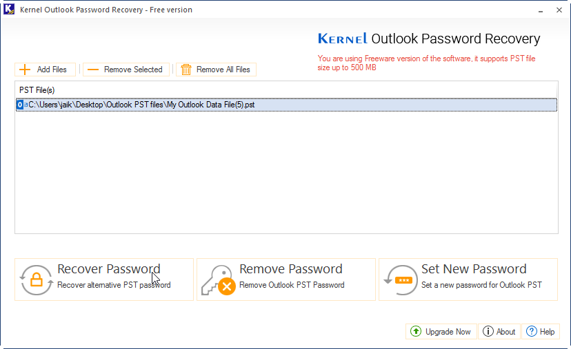 Add PST file and click on Recover Password