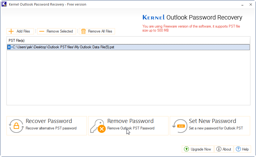 Add a PST file and click on Remove Password