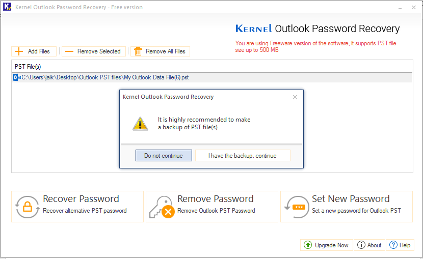 Free Outlook Password Recovery Tool - Recover Outlook PST