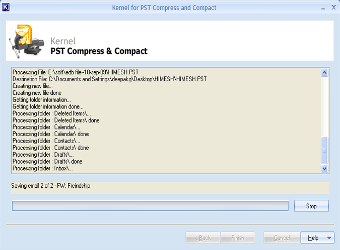 Save the output PST files in the desired location