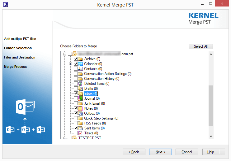 Selecting specific folders of the PST files before merging