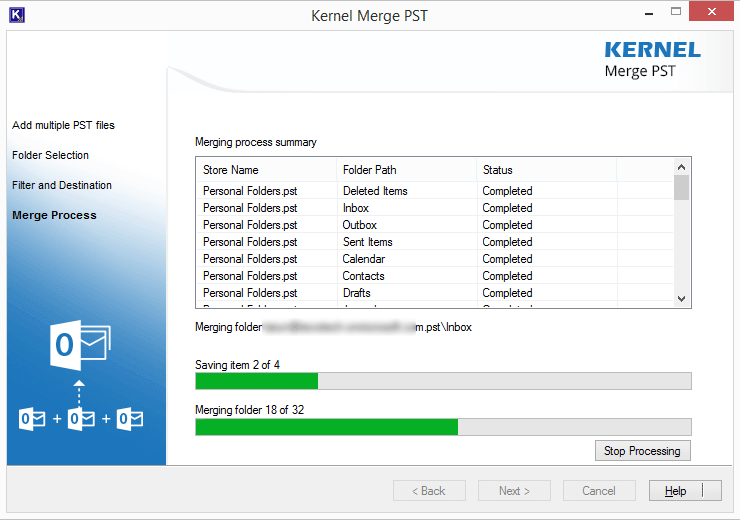 Merging process of the Kernel Merge PST