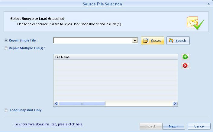 Select Source PST File