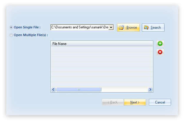 Select desired PST file