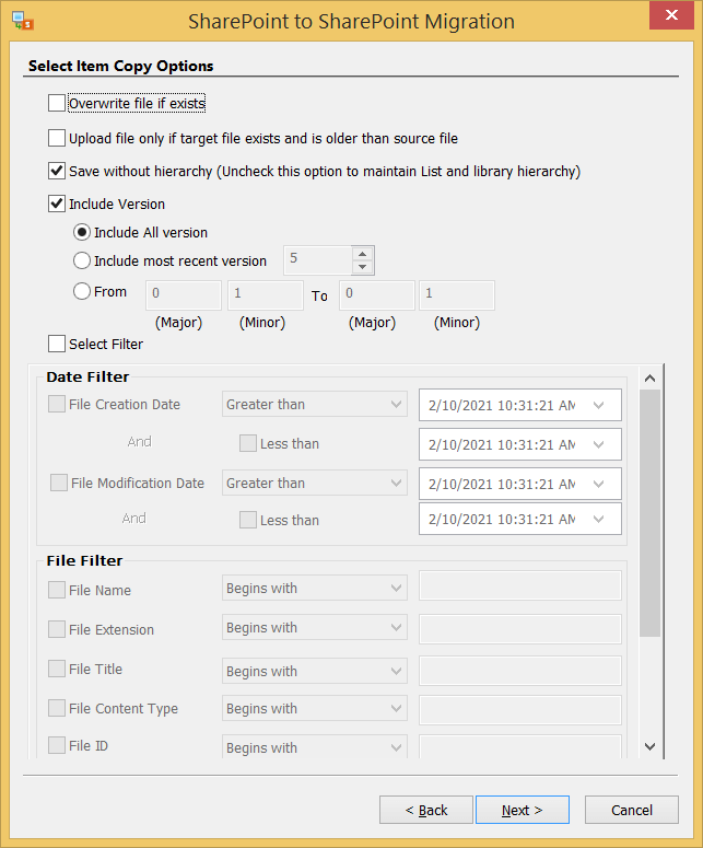 Apply the filters on the selected data. Then choose Next