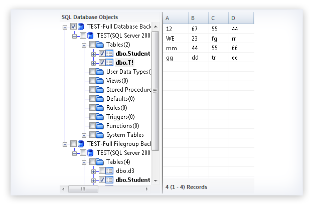 Preview the selected SQL database file object data