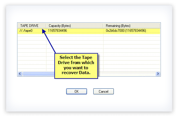 Select the Tape drive