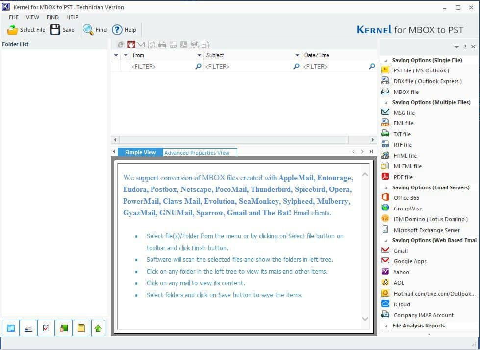 Welcome to Kernel Thunderbird Mail Backup
