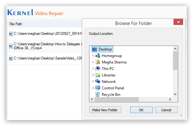 Save the repaired video file