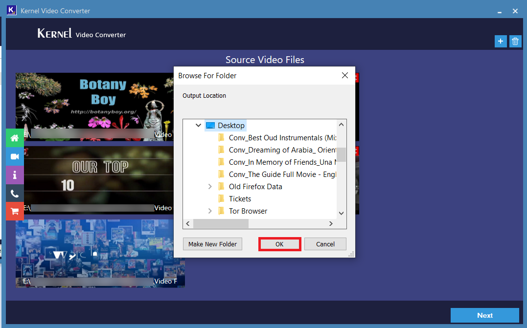 Select the folder where you want to save the newly converted video files