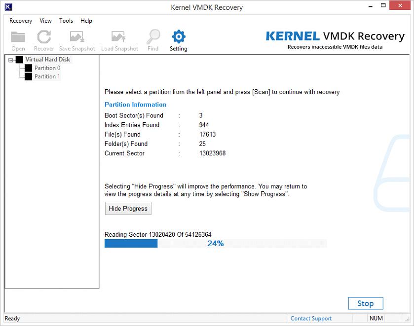 Scanning progress of VMDK file