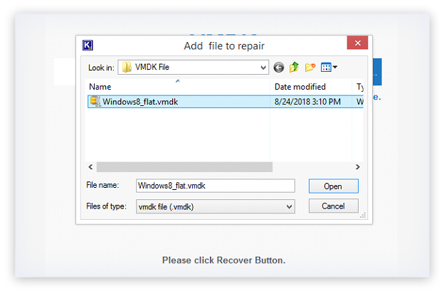 Add the VMDK file for preview
