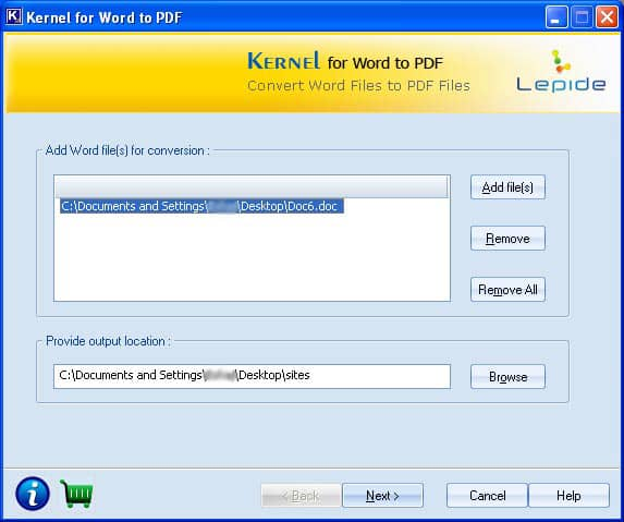 Window showing the Word file (.doc) to be converted into PDF