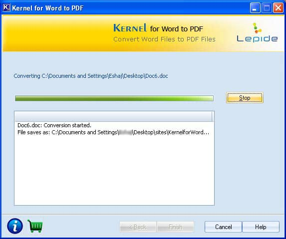 Image showing status of Word to PDF conversion process