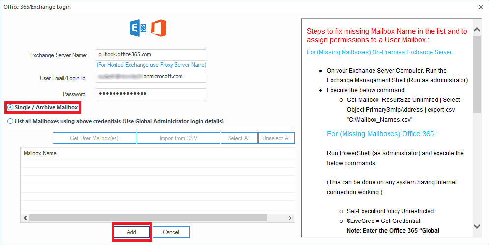 Adding Office 365/Exchange account mailbox as Destination