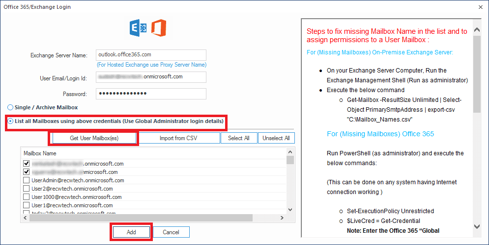 Adding multiple Office mailboxes as Destination
