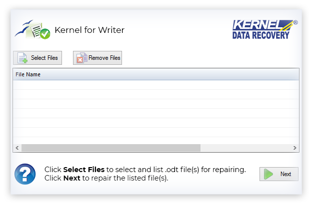 Select required ODT file