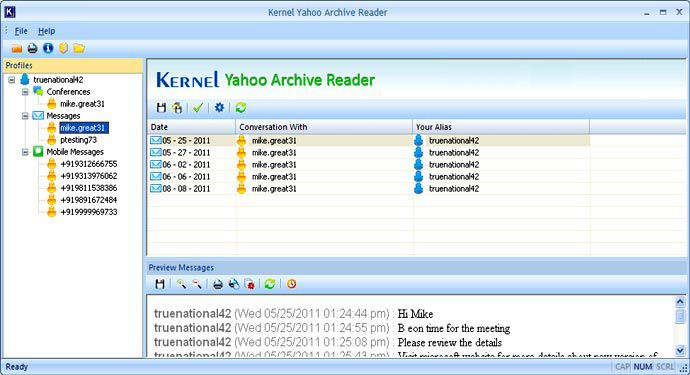 View Instant Messages stored in the directory
