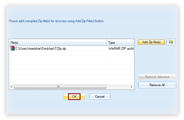 Select corrupt Zip file