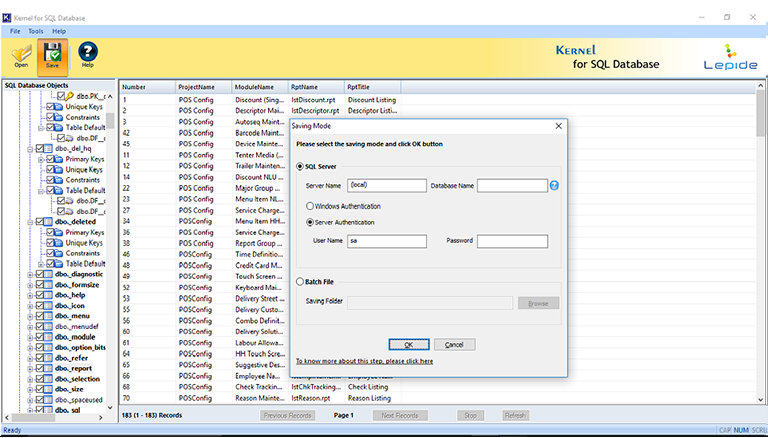 Specify the Saving Mode to save restored objects of SQL database