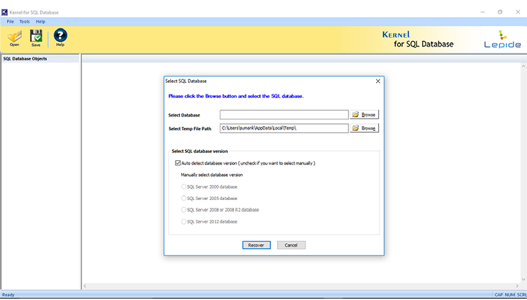 Specify the drive to select the required SQL Database