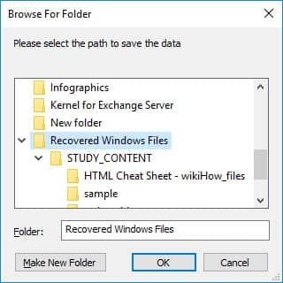 Specify the location and save the recovered data