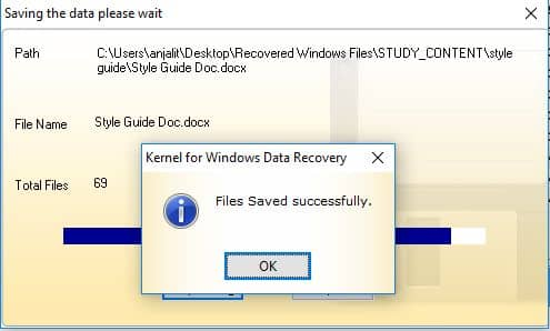 Saving the recovered files.