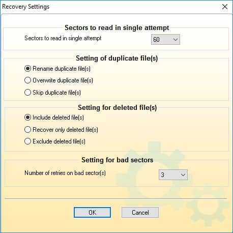 Specify settings for the folder to recover the data