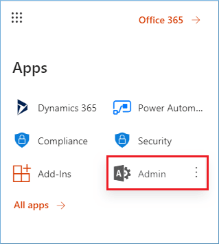 clicking the Admin icon in the Apps launcher