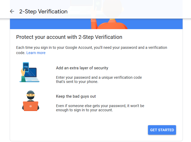 2-step verification window