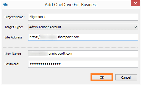 Click OK. It will add the OneDrive for Business account as the destination